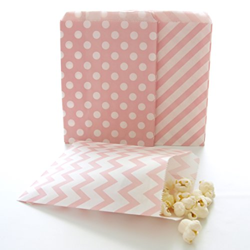 Pink Paper Bags, Wedding Candy Buffet Bags, Mini Treat Bags, Food Gift Bag, 75 Pack - Pink Striped, Polka Dot & Chevron - Food Ideas Xmas Buffet