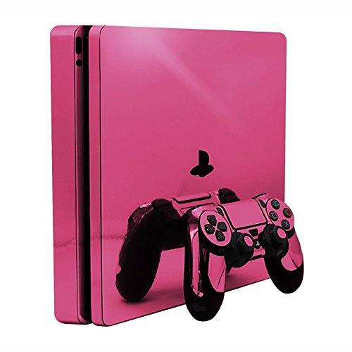 Pink Chrome Mirror Vinyl Decal Faceplate Mod Skin Kit for Sony PlayStation 4 Slim (PS4S) Console by System Skins from System Skins