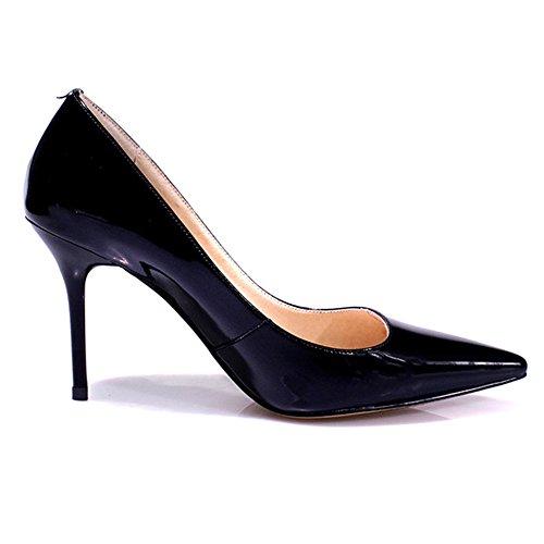 Nine Seven Cuero Moda Puntiagudos Zapatos de Tacón Aguja de Vestir para Mujer negro
