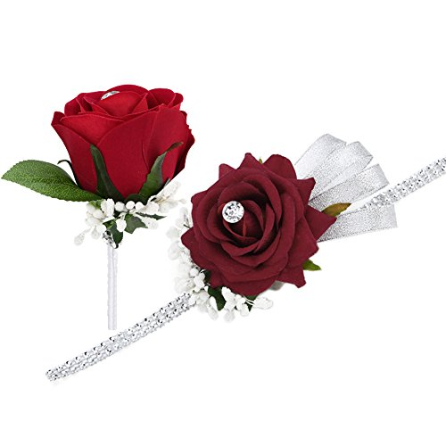 FAYBOX Wedding Prom Velvet Rose Rhinestone Corsage and Boutonniere Set With Silvery Ribbon Stretch Bracelet (Wine Red) - Velvet Corsage
