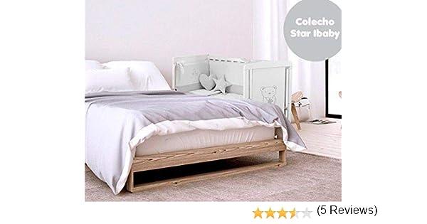 Cuna Colecho Star Ibaby. Multiples posiciones de Somier para adaptarla a cualquier cama + Colchón Viscoelastica + Edredon Completo