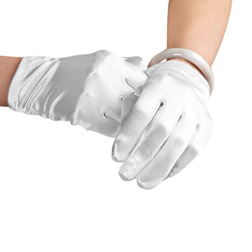 Bridal Waiters Magicians Perform Etiquette Elastic Wrist Short Satin Gloves 8.6""