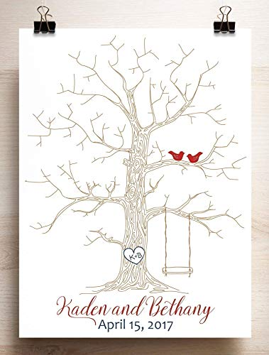 Wedding Guest Book Alternative Thumbprint Tree with Swing for Fingerprints and Love Birds -