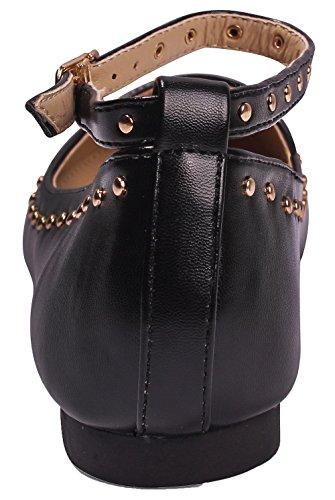 EuD88 Punta Tachuelas con Hebilla Negro Remache Zapatos Sólido Puntera Mujer EN Shoes Salón AgeeMi de qCp6wIn