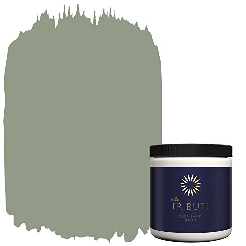 KILZ TRIBUTE Interior Satin Paint & Primer In One,  8-Ounce Sample, Weeping Willow (Moore Paint)