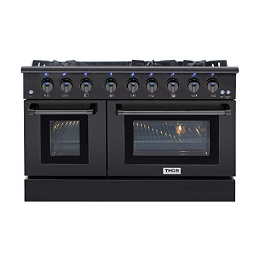 Thor Kitchen 48 Inch Gas Range 6 Burners Cooktop 6.7 cu.ft Oven Black Steel Free-Standing Blue Porcelain Oven Interior HRG4808-BS