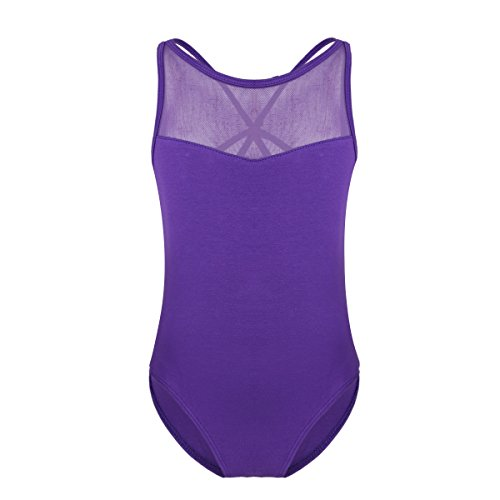 - iiniim Kids Girl's Lace/Cross Back Gymnastics Ballet Dance Camisole Leotard Tops Athletic Sports Outfit (8-10, Criss cross Purple)