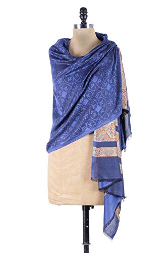- Pure Modal Cashmere Paisley Shawl Wrap Scarf & Scarves - Navy Blue