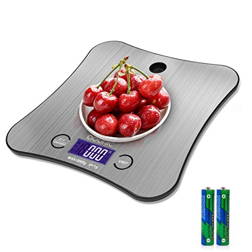 Kitchen Weighing Scales Digital, Adoric Cooking Scales Stainless Premium Steel Larger Platform Can Hang on The Wall…