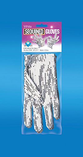 (Loftus International Star Power Sequined Sparkly Magician/Dance 2pc Gloves, White, One Size Novelty)