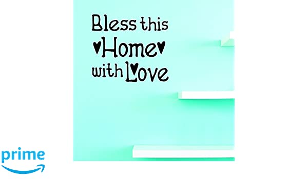 Black 16 x 16 Design with Vinyl JER 1240 2Bless This Home with Love Design Living Room Decor Sticker Picture Art Vinyl Wall Decal