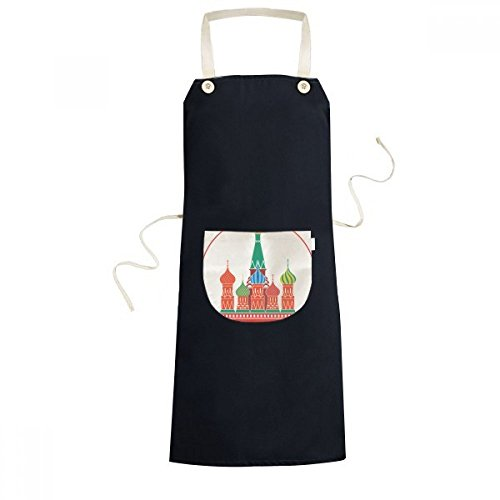 DIYthinker Cathedral Illustration Pattern Cathedral Buiding Moscow Church Cooking Kitchen Black Bib Aprons With Pocket for Women Men Chef Gifts by DIYthinker