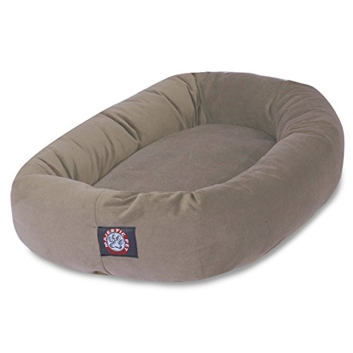 Bagel Dog Bed - 40 inch Stone Suede Bagel Dog Bed By Majestic Pet Products