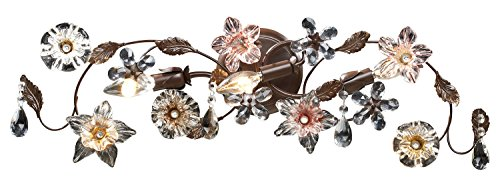 (Cristallo Fiore 3 Light Vanity in Deep Rust with Crystal Florets )