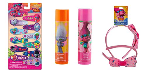 Trolls Dreamworks Cute Hair Clips, Cupcake headband with Poppy & Branch, Trolls 2 PK Lip Balm Gift Bundle, 3 PC