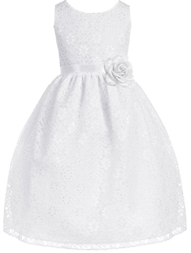 Dreamer P Big Girls' Adorable Lace Overlay Spring Summer Flowers Girls Dresses White Size 8 (Size 8 Girl White Dress Flower)