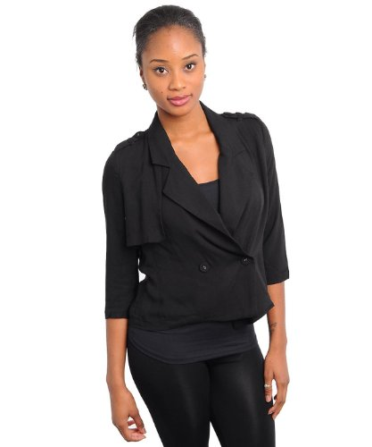 G2 Chic Women's Button Front Boxy Fit Trench-Style Jacket(OW-JKT,BLK-S)