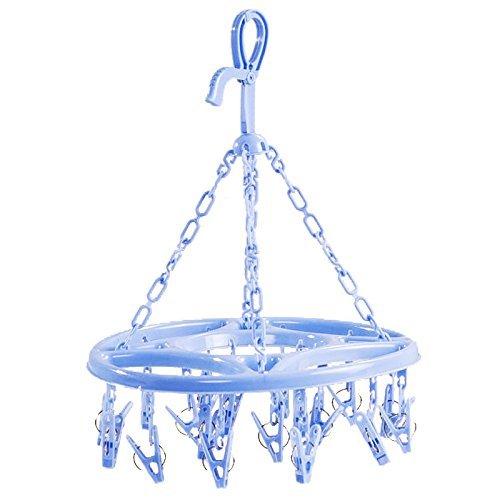 SODIAL ( R ) Hanging Dryer 18クリップピンランドリー服ハンガー下着ソックス折りたたみ式新しい(ブルー) B06XBHLTYK