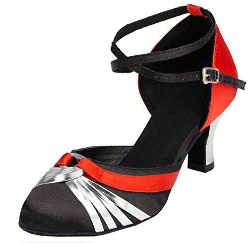 Tda Mujeres Tobillera Correa Toe Nudo Redondo Tacón Medio Latina Salsa Moderna Tango Salón De Baile Zapatos De Baile Negro Rojo
