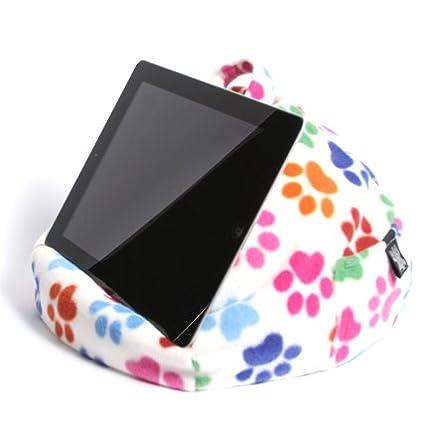 Cojín soporte acolchonado con forma de bolsita para el iPad, la tableta y el lector electrónico - Patitas - ¡Adecuado para TODAS las tabletas! 100 % ...