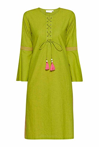 Sleeves Flute amp; Aahwan Calf with Dress Long Women Casual Kurtis Festive for Embroidered Cotton Bell Green Indian 4B11xFnW8R