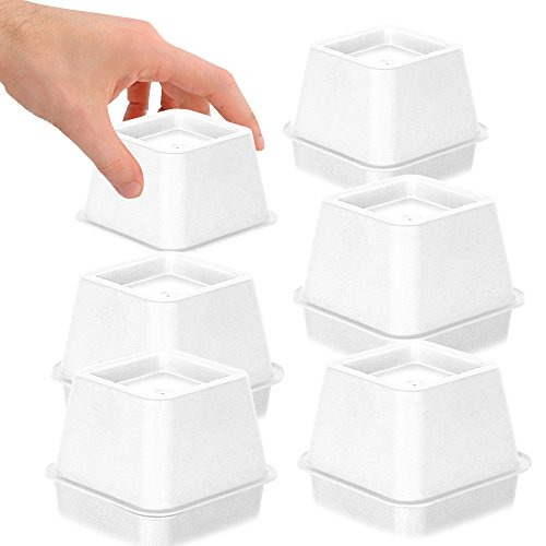 DuraCasa Bed Risers - Raises Your Bed or Furniture to Create an Additional 3 Inches of Storage! Reinforced New Heavy-Duty Design to Hold Over 2000 LBS! Desk or Sofa Lift (White 3 Inch Risers Set of 6) (Riser Sets Hi)