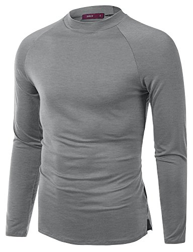 Doublju Mens Long Sleeve Comfortable Half Turtle Neck T-Shirt, Gray, S
