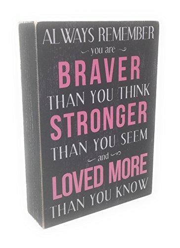 Kelli's Shop Braver Always Remember Box Sign - 7 x 5 Inches, Multicolor ()