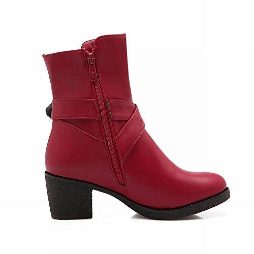 Carolbar Womens Fashion Buckle Zipper Vintage Comfort Casual Spring & Fall Chunky Mid Heel Short Boots Red NKxWSMN