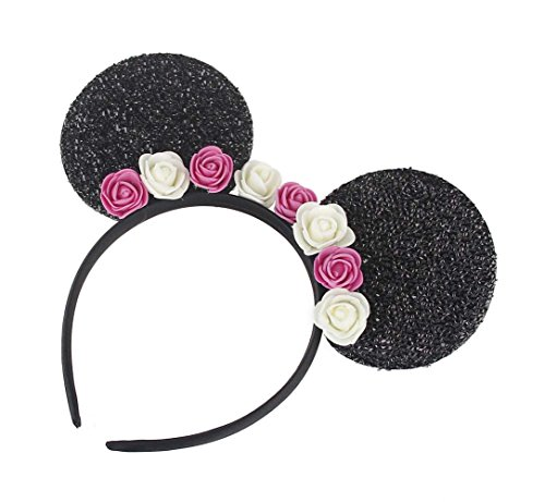 Kewl Fashion Sequins Bowknot Lovely Mouse Ear Headband Headwear for Travel Festivals (Rose Red White)