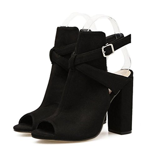 High LINYI Sandals Shoes Summer Toe Open Heeled Women's Heel Buckle Black Chunky cw7UwYSq