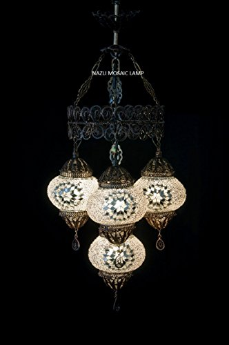 Mosaic Chandelier,Copper Filigree Mosaic,Mosaic Lamp,Turkish Lamp,Moroccan Lantern