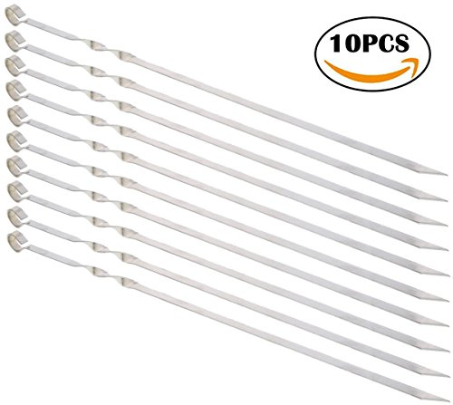 MojiDecor Skewers Kabob Skewers for Grilling Kabob Grilling Baskets BBQ Skewers Metal Skewers for Stainless Steel Grill - 15 Inch Flat Stainless Steel Nonstick Barbecue Skewers Kabob Skewers (10 Pcs)