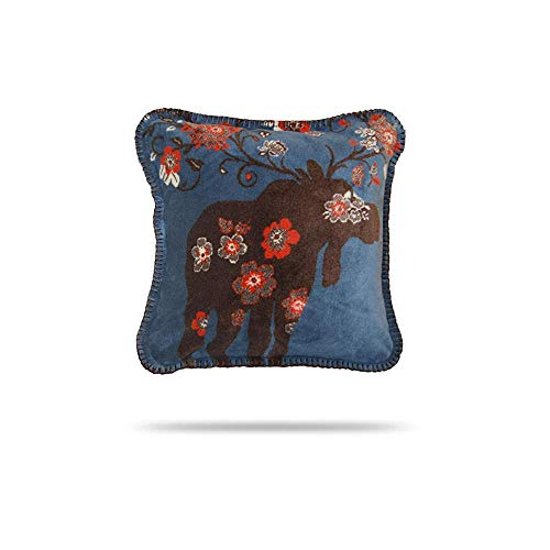 Denali Throw - Denali Home Collection by Mont Square Pillow, 18-Inch, Moose Blossom Blue/Taupe