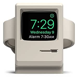 elago W3 Stand [White] - [Vintage Apple Monitor][Supports Nightstand Mode][Cable Management] - for Apple Watch Series 1 and 2