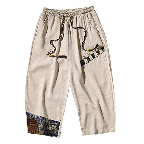 KLGDA Men's Shorts Classic Fit Drawstring Summer Beach Cropped Trousers Harem Pants with Elastic Waist and Pockets ()