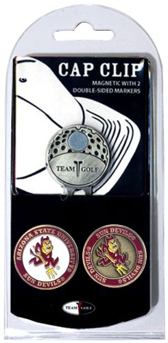 Team Golf NCAA Arizona State Sun Devils Golf Cap Clip with 2 Removable Double-Sided Enamel Magnetic Ball Markers, Attaches Easily to Hats ()