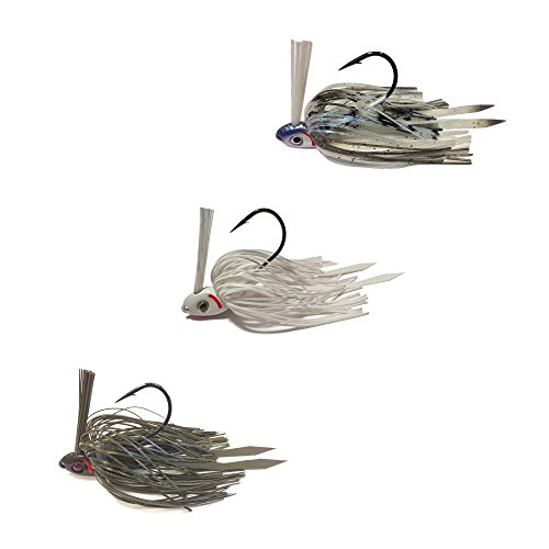 Swim Jigs with 3D Realistic Eyes Jig Head Fishing Lures to Bait Bass, Bluegill and More - 3-Pack (SWIM-JIG-38-GPP-BIS-WS)