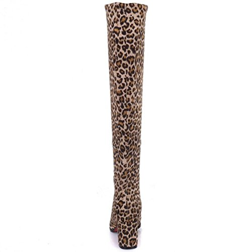Boots on Leopard RAZAMAZA Simple Pull Women qZw4x6RE