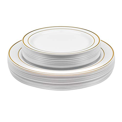 "50-Pack Premium Disposable Hard Plastic Dinner and Salad Plates Combo Set – 25x 10"" Dinner & 25x 7"" Salad Dessert - Elegant Gold Edge Pattern - Perfect for Dinner, Parties, Holidays"