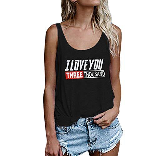 WYTong Women's Print Tank Top Summer Sleeveless Shirt Blouse I Love you Three Thousand Loose Casual Sleeveless Top(Black,XL)