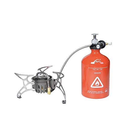 APG Multi Fuel Portable Camping Gas and Oil Stove Butane Propane Gasoline Hiking Backpacking Foldable Stove Burner with Windshield Windscreen ()