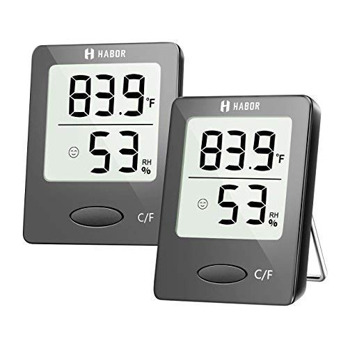 Habor thermometer indoor (2 Pack), Superior Mini Digital hygrometer indoor Accurate Humidity Monitor Gauge for House, Office, Greenhouse, Home (2.3X1.8inch, Black)