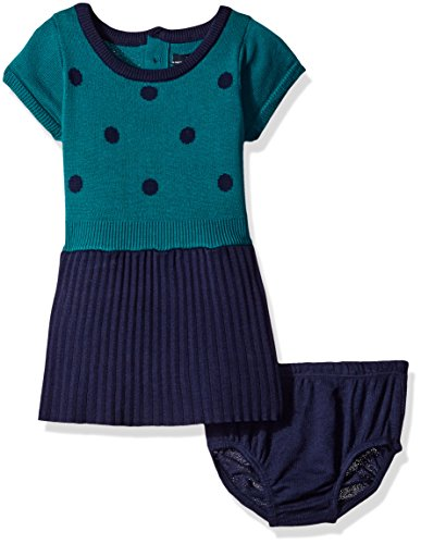 Nautica Baby Polka Dot Pleated Sweater Dress, Navy, 24 Months