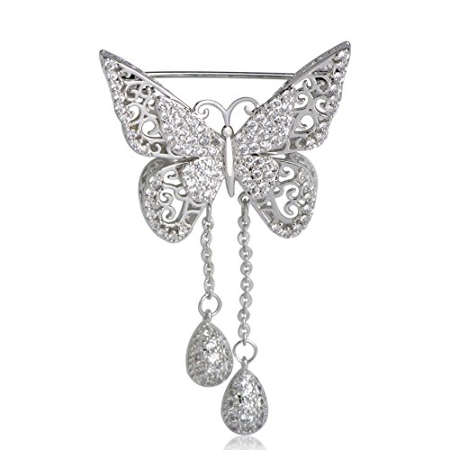 Brooch Dress Butterfly (MECHOSEN Cubic Zirconia Butterfly Brooch for Women Silver Color What Drop Tassel Classic Wedding Decoration Animal Corsage Pins)