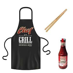 'Barbacoa Delantal Chef AM Barbacoa Negro Incluye pinzas de barbacoa & Ketchup, delantal, barbacoa/grill, Party Set, delantal, parrilla de cubiertos, parrilla salsas, Werder Ketchup, parrilla Set