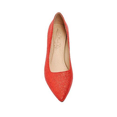 Chiodato VogueZone009 Rosso Punta Chiusa Donna Tirare Luccichio Ballet Flats q665ZFrxw