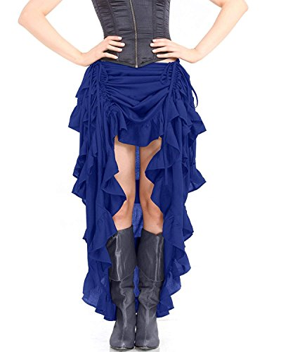 ThePirateDressing Steampunk Victorian Gothic Womens Costume Show Girl Skirt (Royal Blue) (Small)