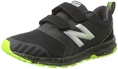 (New Balance Unisex-child FuelCore Nitrel Hook and Loop Trail Running Shoe, Grey/Black, 2 M US Little)