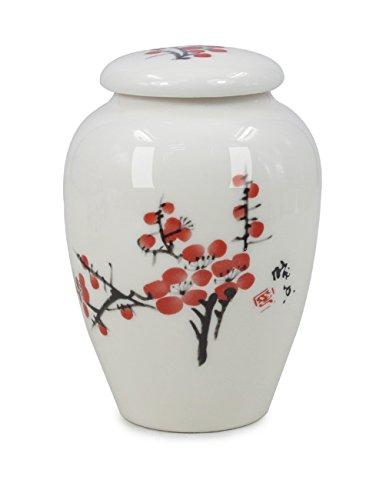 07 Plum Sugar - Dahlia Oriental Watercolor Painting Porcelain Tea Tin/Tea Storage/Tea Caddy, Plum Blossom